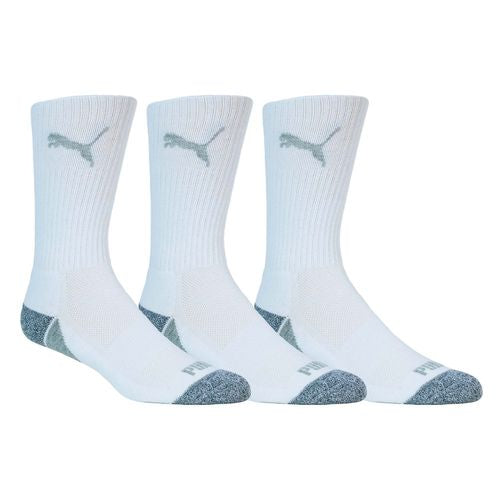 WHITE 'pounce' crew GOLF SOCKS -  3 pair pack / MEN