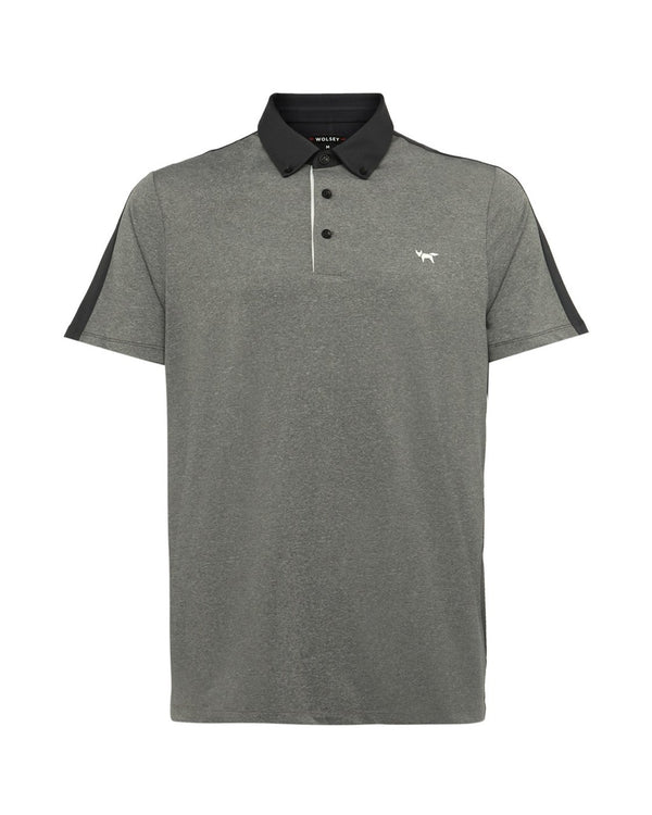 GREY MEL COLOUR SPLIT POLO   -