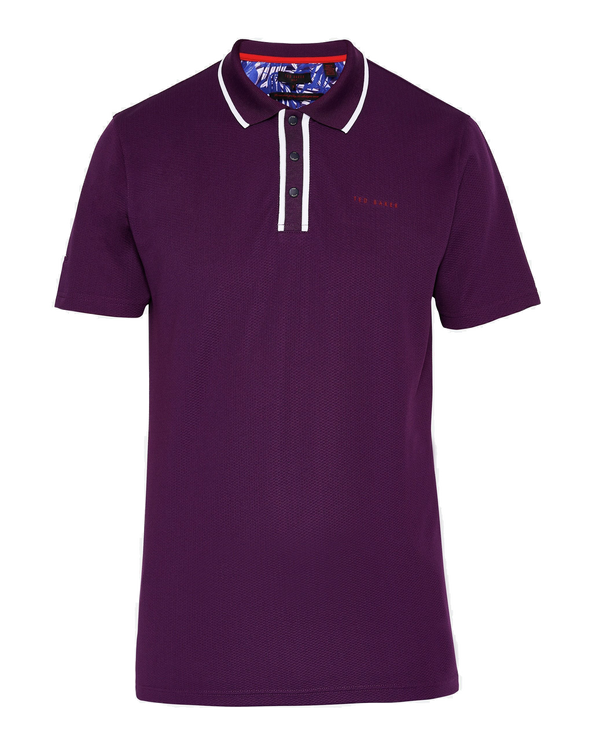 PURPLE 'BUNKA' Solid Technical Short Sleeve Golf Polo - Men's / AW18