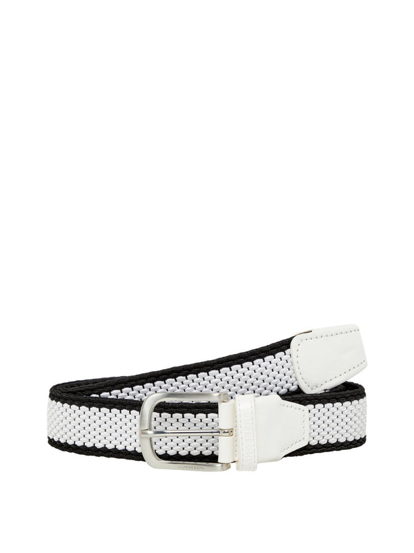 White Fulton Elastic Stripe Belt  - Men's / SS19
