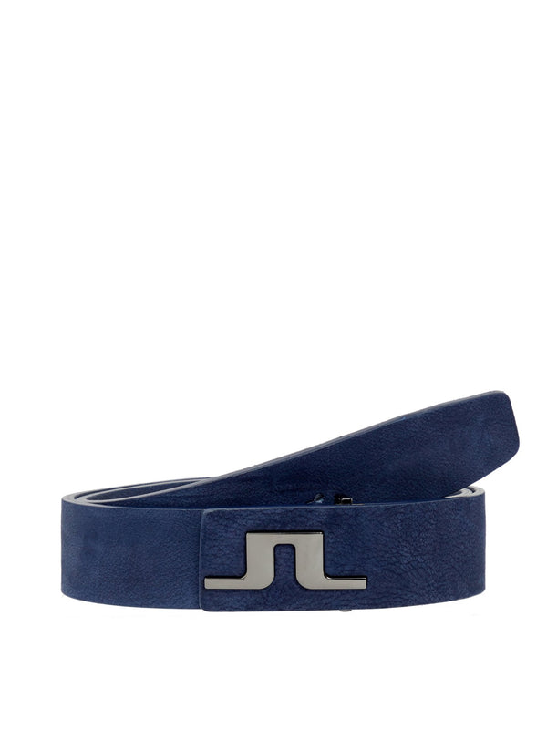Navy Carter Brushed Leather Belt - Men's / SS19