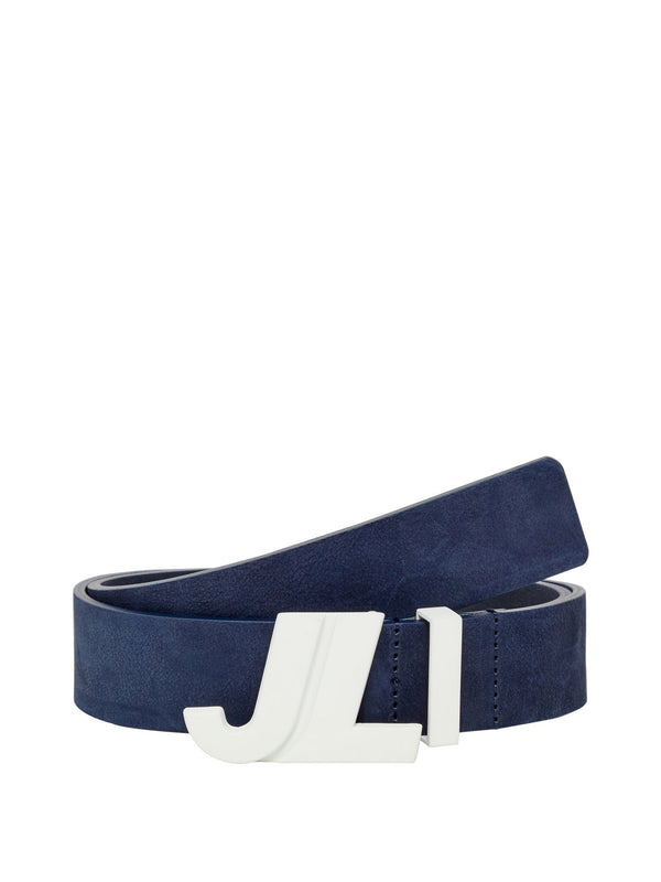 Navy JL Iconic Brushed Leather Belt - Men's / SS19