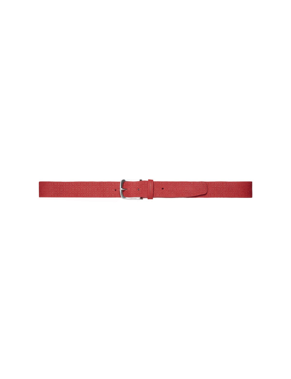 Red JAN JACQUARD 100% LEATHER Belt - Made in Italy - MEN'S / SS18