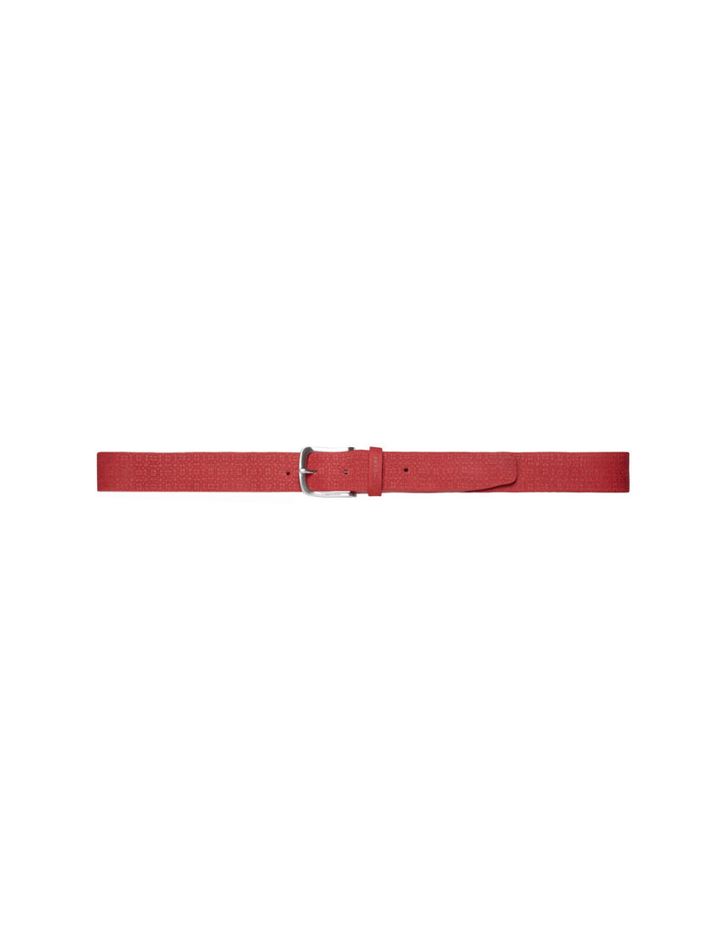 Red JAN JACQUARD 100% LEATHER Belt - Made in Italy - MEN