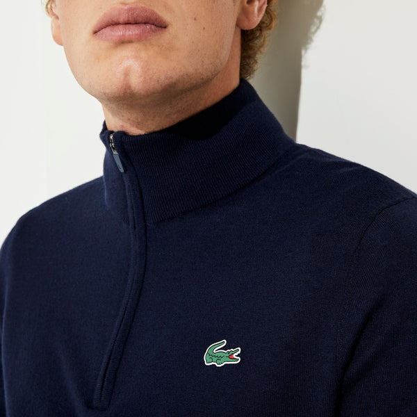 NAVY 'SPORT' Solid Breathable Knit Zip Collar Golf Sweater - MEN / AW20
