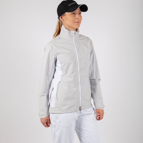 Cool grey/White 'AILA' Waterproof GORE-TEX GOLF Jacket - WOMEN