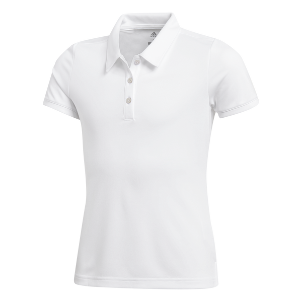 WHITE - TOURNAMENT SHORT SLEEVE GIRLS GOLF POLO - JUNIOR / SS20