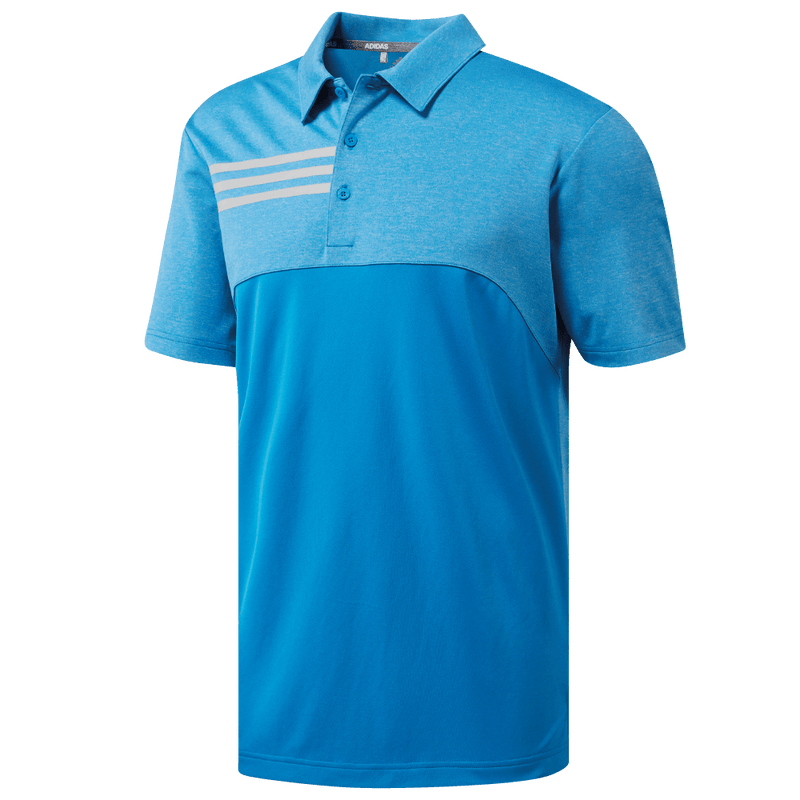 BRIGHT BLUE 3-STRIPE HEATHER BLOCKED POLO CY9299 - Men's / AW18