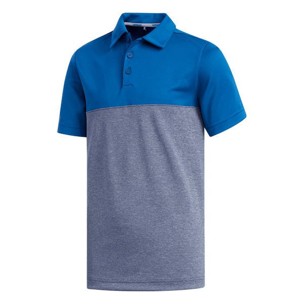 BLUE 'HEATHERED COLOR BLOCKED' GOLF POLO - JUNIOR / SS20