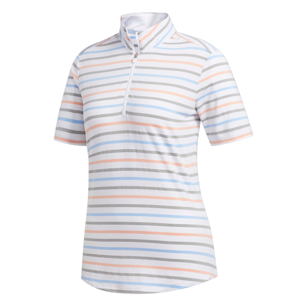 white/glow pink ULTIMATE STRIPE SHORT SLEEVE GOLF POLO - WOMEN / AW19