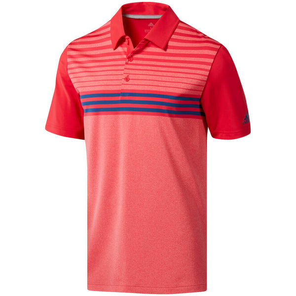 RED/PINK ULTIMATE 3 STRIPE HEATHER GRADIENT GOLF POLO - MEN / SS20