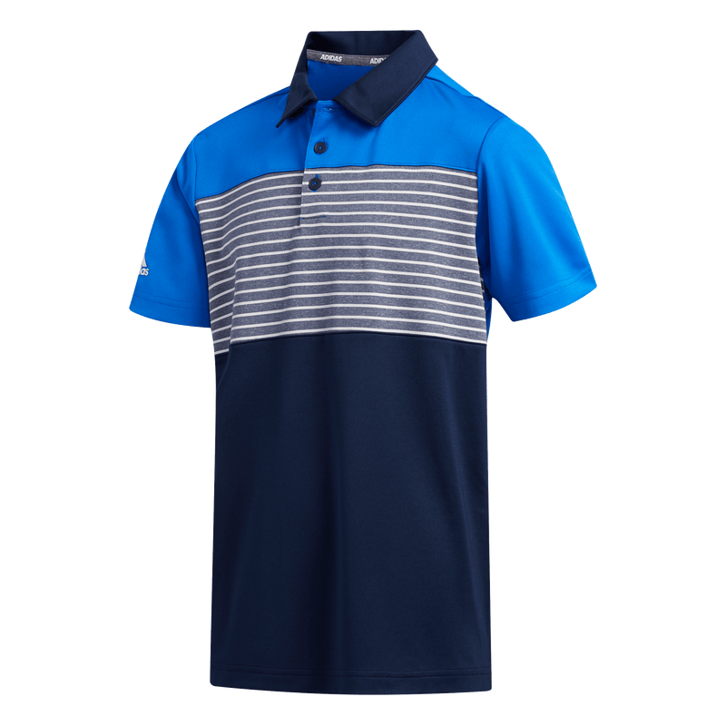 BLUE 'ENGINEERED STRIPE' GOLF POLO - JUNIOR / SS20