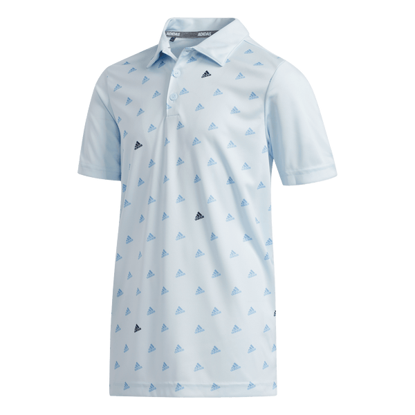 BLUE 'ADIDAS PRINTED' GOLF POLO - JUNIOR / SS20