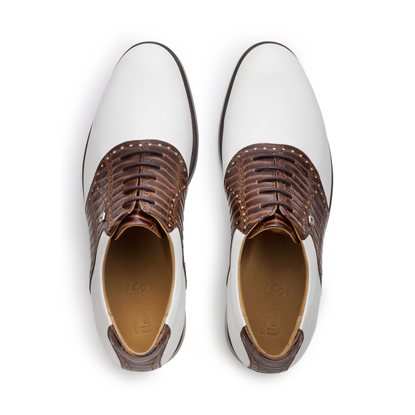 WHITE / CHESTNUT CROC Plain Toe Saddle Luxury Golf Shoe - Men / Bespoke 1857 Collection