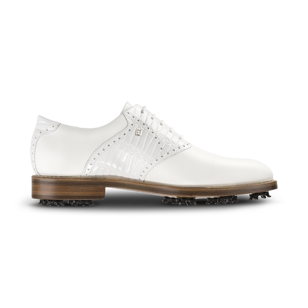 WHITE CROC PRINT Plain Toe Saddle Luxury Golf Shoe - Men / Bespoke 1857 Collection