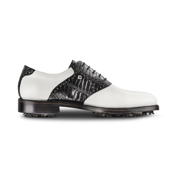 WHITE / BLACK CROC  Plain Toe Saddle Luxury Golf Shoe - Men / Bespoke 1857 Collection