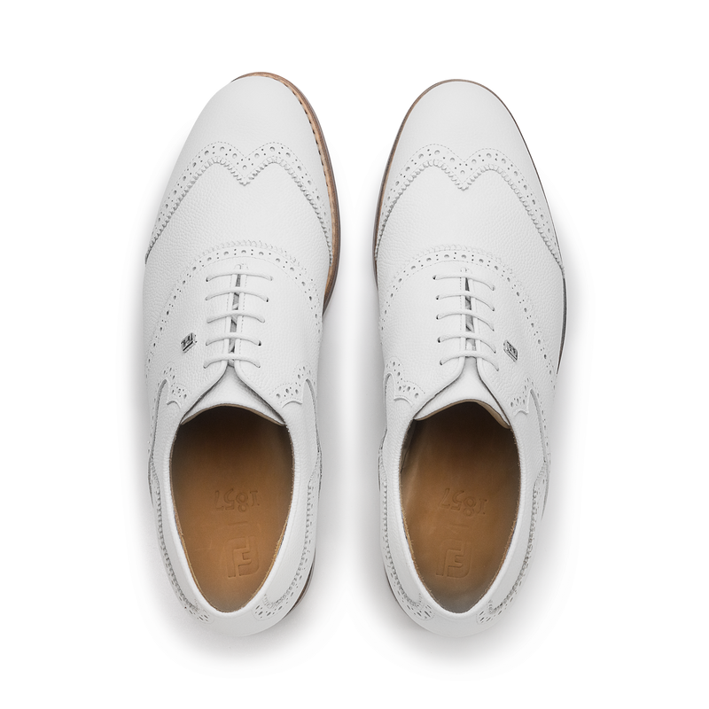 WHITE SCOTCH GRAIN Shield Tip Luxury Golf Shoe - Men / Bespoke 1857 Collection