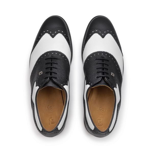WHITE SCOTCH GRAIN / BLACK SCOTCH GRAIN Shield Tip Luxury Golf Shoe - Men / Bespoke 1857 Collection