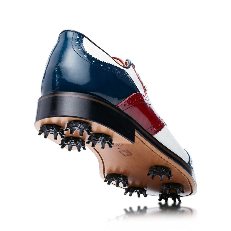 WHITE / NAVY / RED PATENT SCOTCH GRAIN Shield Tip Luxury Golf Shoe - Men / Bespoke 1857 Collection