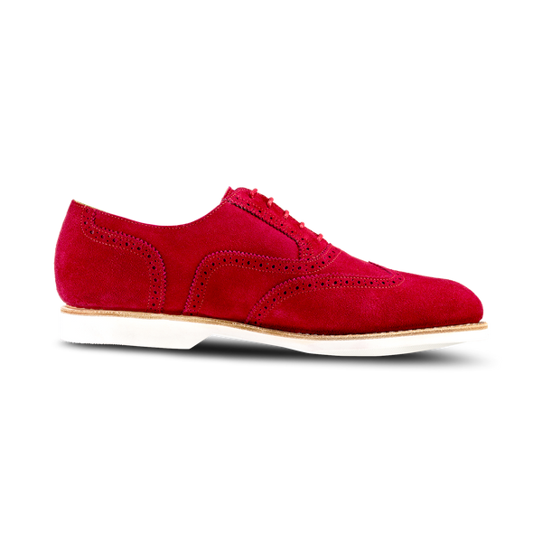 RED SUEDE Wing Tip Suede 'Causal' Luxury Golf Shoe - Men / Bespoke 1857 Collection