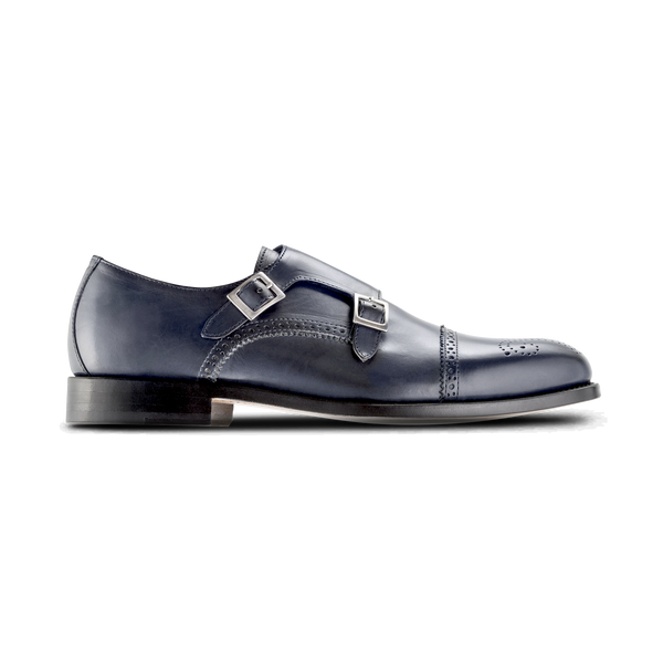 NAVY Double Monk Strap 'Dress' Luxury Golf Shoe - Men / Bespoke 1857 Collection