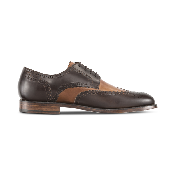 WALNUT / COGNAC Wing Tip Blucher 'Dress' Luxury Golf Shoe - Men / Bespoke 1857 Collection