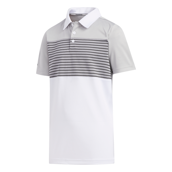 WHITE 'ENGINEERED STRIPE' GOLF POLO - JUNIOR / SS20