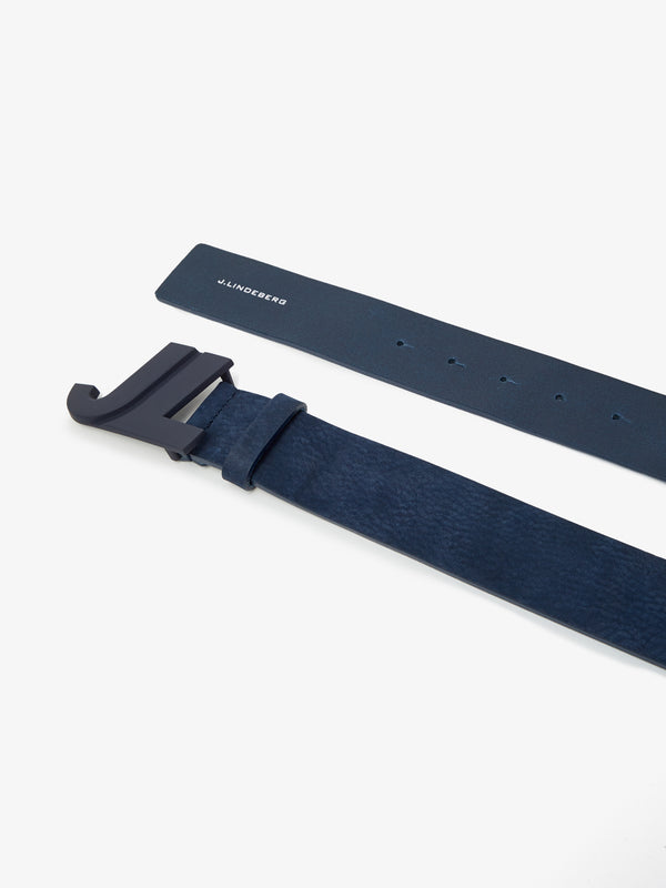 Navy Brushed Leather 'JL Iconic' Golf Belt - MEN / 2021