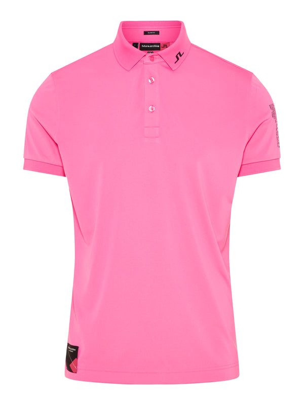 Pop Pink 'TOURTECH' ARCHIVED GOLF POLO SHIRT - MEN / SS20