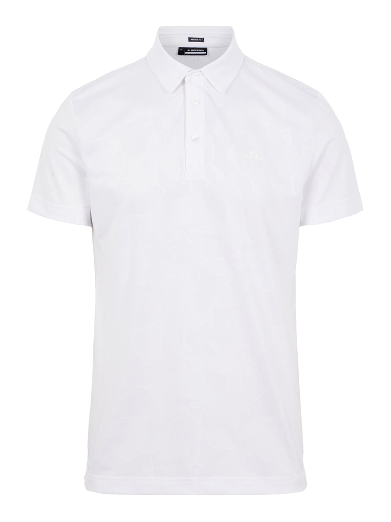 WHITE 'Clide' Regular Fit Golf Polo Shirt with Active Mesh - MEN