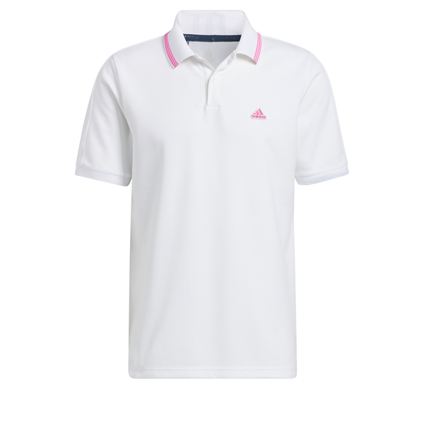 WHITE/PINK 'GO-TO PIQUE' GOLF POLO - MEN