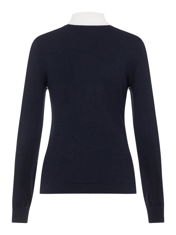 NAVY 'ADIA' TURTLE NECK GOLF SWEATER - WOMEN / AW20