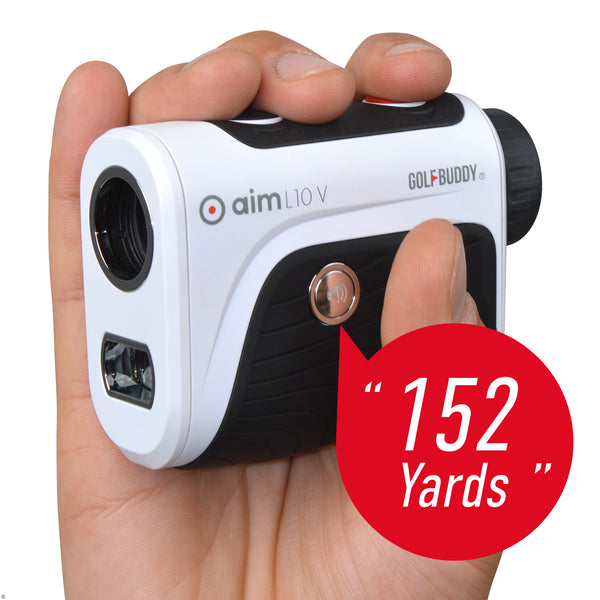 White 'aim L10V Laser' Rangefinder with Voice - 2021