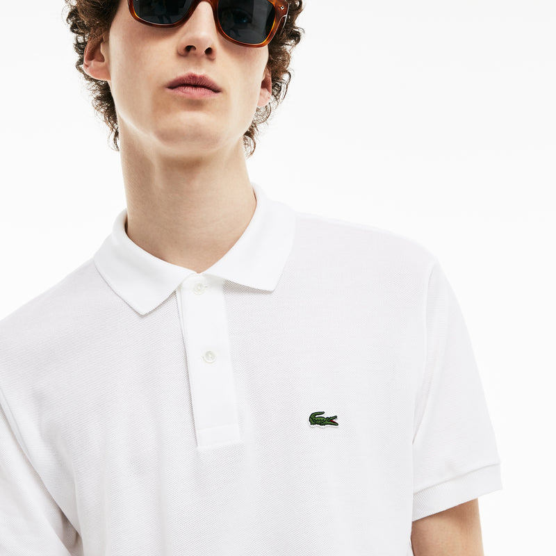 White Technical 'L.12.12' Golf Polo Shirt  - MEN / SS19