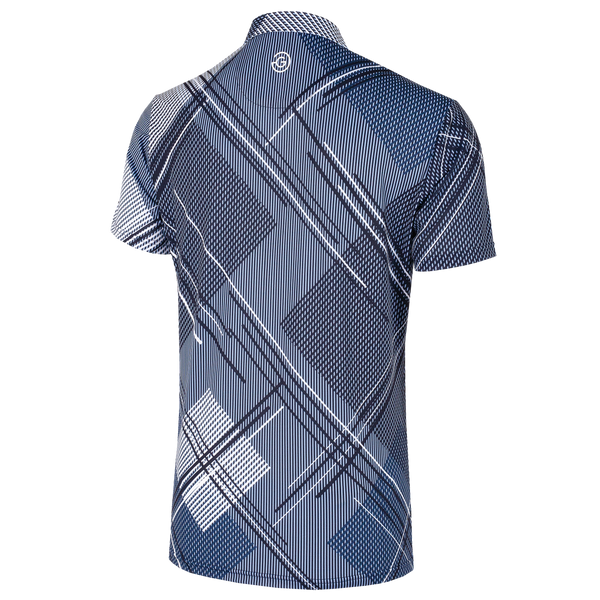 Blue Bell/Navy 'MITCHELL' Golf Shirt with VENTIL8™PLUS fabric  - MEN