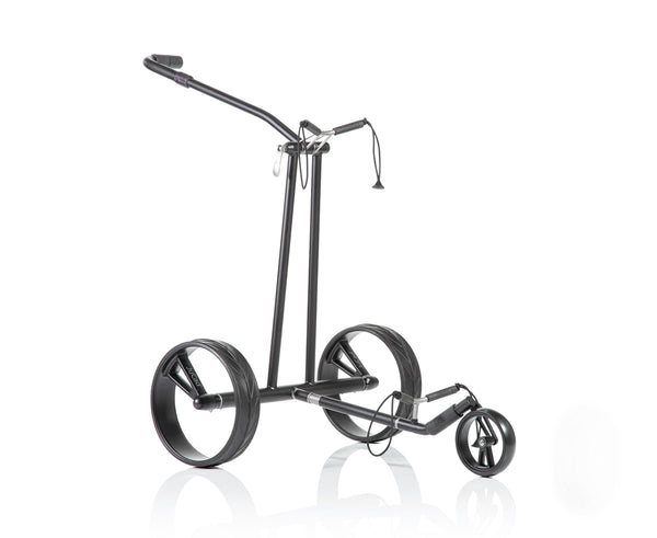 Lightweight 'PHANTOM BLACK ON BLACK 2.0' TITANIUM 3-wheel electric Golf Trolley - CUSTOM / BESPOKE