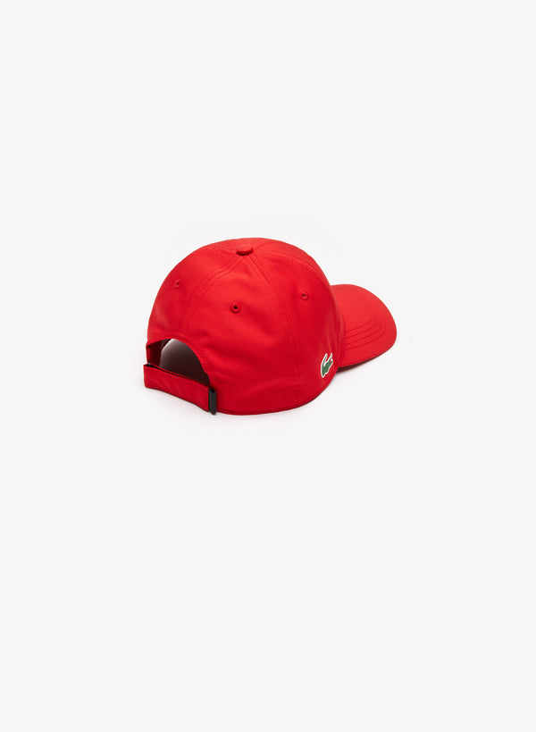 RED SPORT CAP IN SOLID DIAMOND WEAVE TAFFETA - MEN / SS19