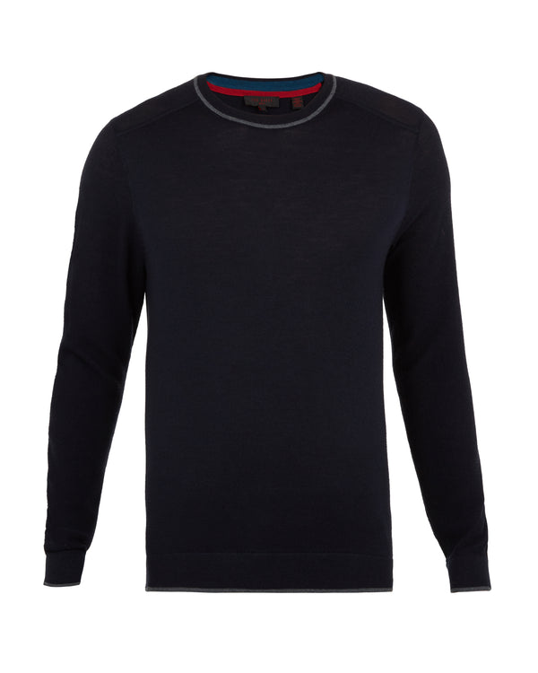 Navy 'Trackr' Crew Neck Jumper - Men's / AW18