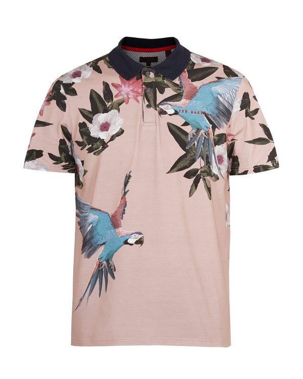 PINK 'CASHEW' Cotton parrot print golf polo shirt - Men's / SS19