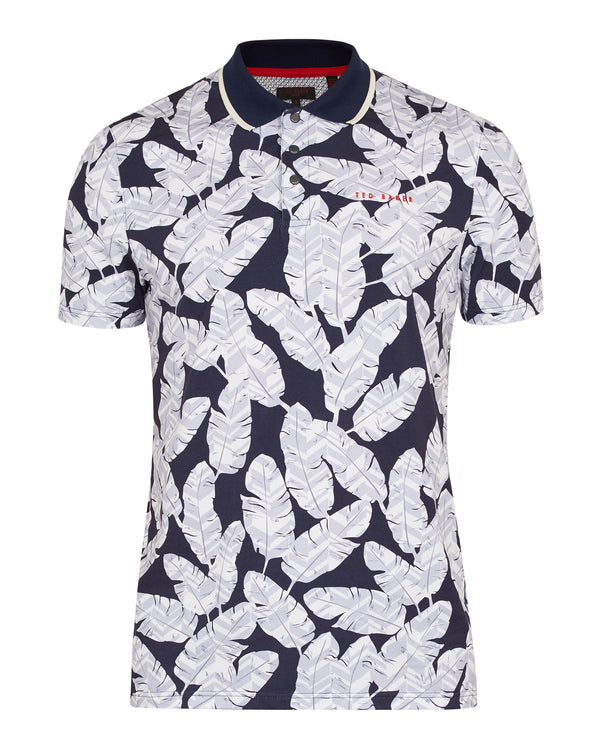 NAVY 'PEACAN' Large feather print cotton golf polo shirt - Men's / SS19
