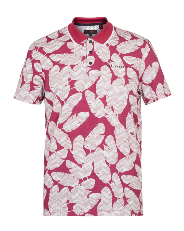 PINK 'PEACAN' Large feather print cotton golf polo shirt - Men's / SS19