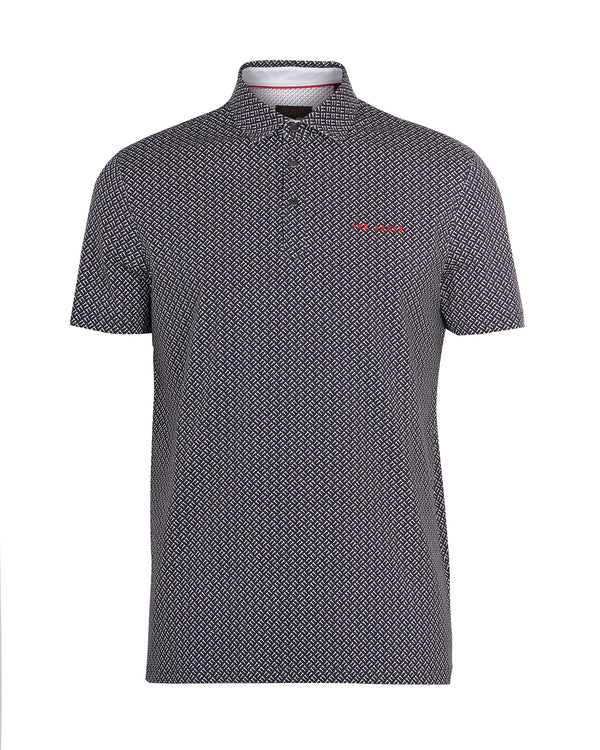 NAVY 'WALLNOT' Printed cotton golf polo shirt - Men's / SS19