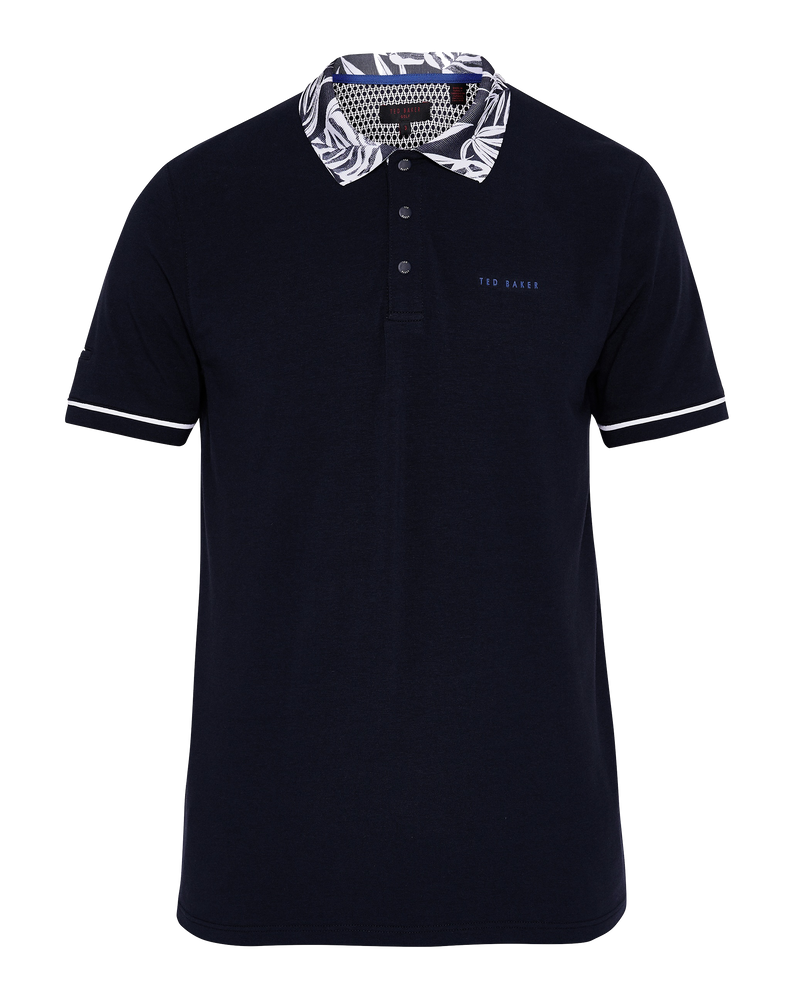 Navy 'CHIP' Printed collar Short Sleeve Golf Polo - Men's / SS18