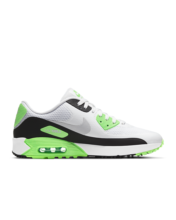 WHITE/NEUTRAL GREY-BLACK-FLASH LIME 'Air Max 90 G' Golf Shoe - MEN