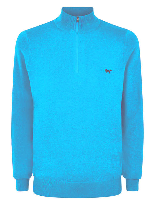 AZURE MERINO ZIP NECK SWEATER   -