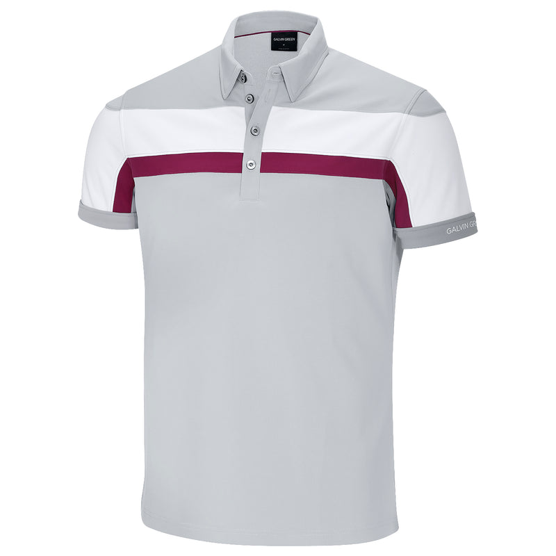 STEEL GREY/WHITE/BAROLO RED MITCHELL VENTIL8 GOLF SHIRT   -  SS17