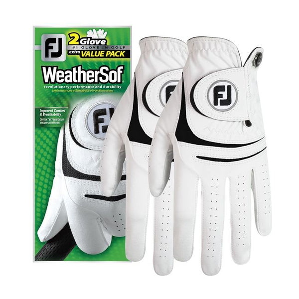 WHITE 'WEATHERSOF'  Double Pack Golf Glove - Right Handed Golfer / Men