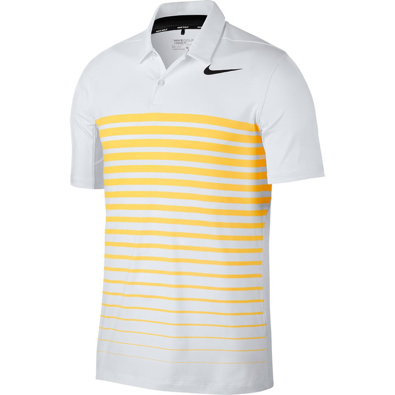 WHITE/LASER ORANGE NIKE HEATHER STRIPE DRY POLO 854258 GOLF POLO  -   MEN / OUTLET