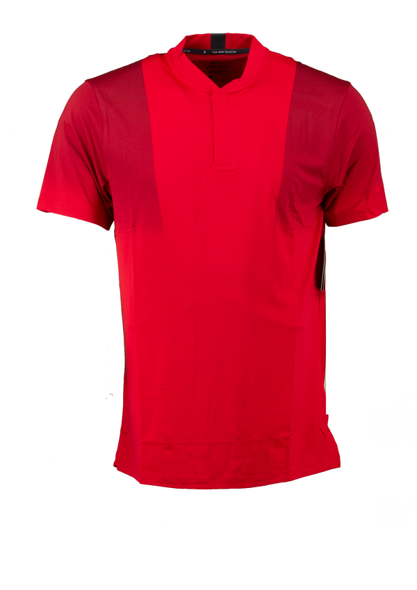 Red 'DRI-FIT VICTORY' Tiger Woods GOLF COLLARLESS POLO SHIRT - MEN / 2021