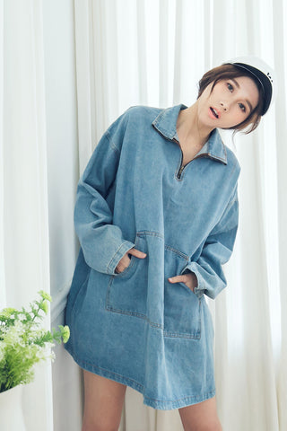 HIGH-NECK DENIM DRESS